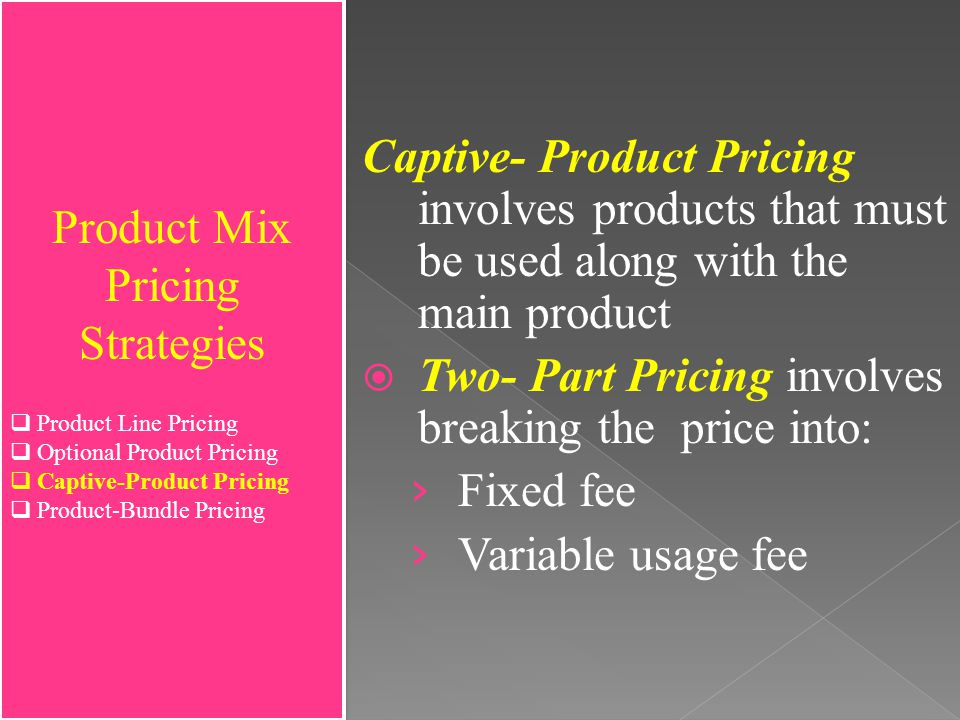 product mix pricing strategies Most products are part of a product mix they must be priced accordingly we will explain the 5 product mix pricing strategies - at marketing-insider.