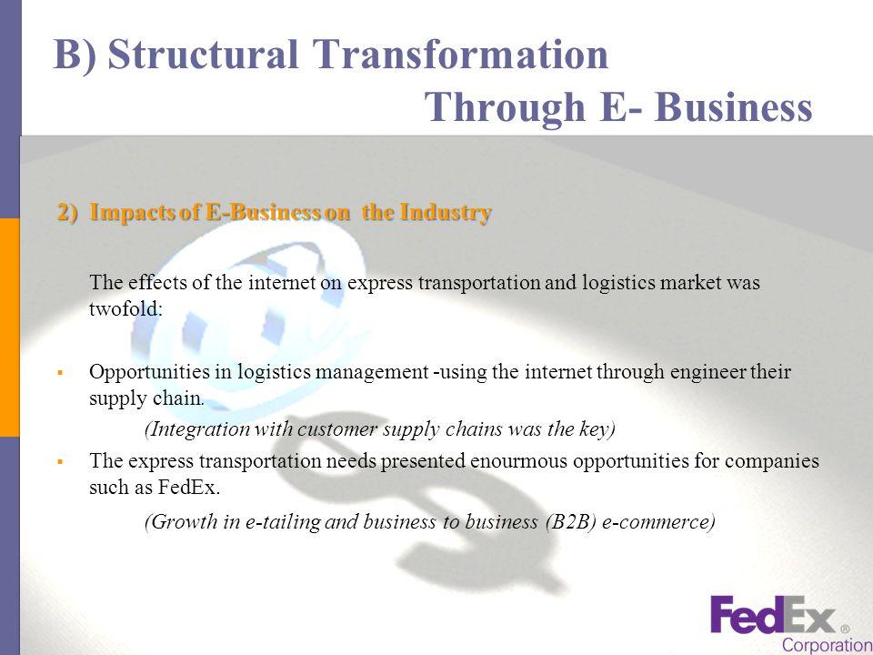 fedex corp structural transformation through e business Structural transformation through e-business in the logistics industry: the  case study of fedex corporation binod acharya uploaded by binod acharya.