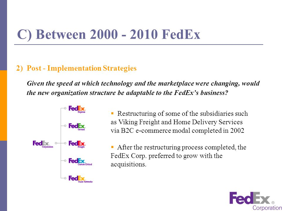 fedex structural transformation through e business What are al-qaeda's main tactics and techniques why has al-qaeda preferred these tactics and techniques  fedex corp: structural transformation through e-business.