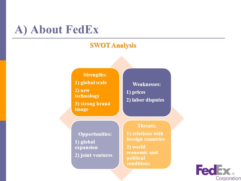strength and weakness of fedex The package delivery company reported quarterly earnings on wednesday that fell shy of analysts' expectations as it saw continued weakness in international air freight market and consumers.