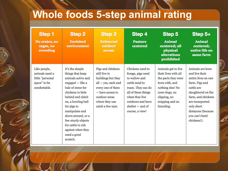 Whole foods 5-step animal rating