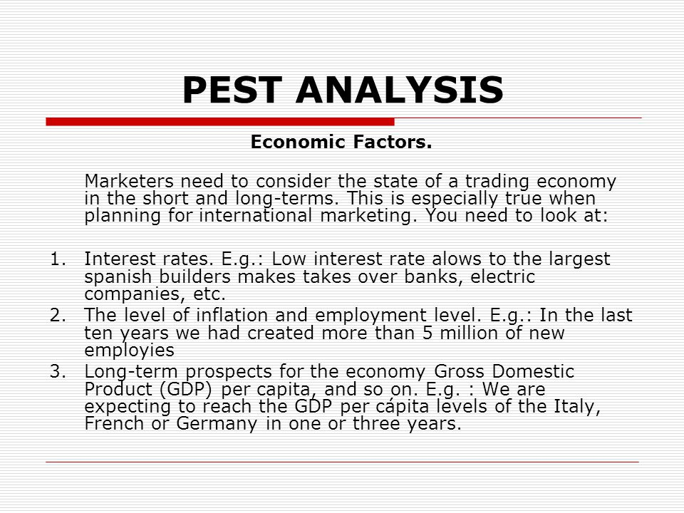 pest analysis italy This is detailed pestel or pestle analysis of burger king which is a fast food chain that operates globally slovenia, and austria watershed of alpine approximately delimits the capital the area of italy is pestle analysis of mark and spencer (m&s) by adamkasi   mar 17.