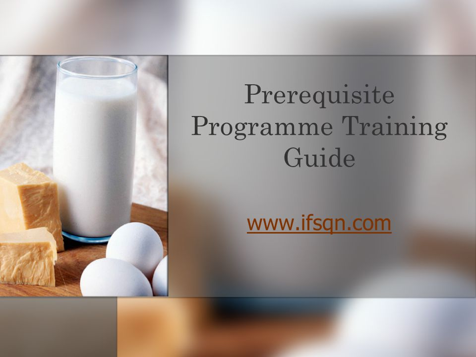 Prerequisite Programme Training Guide