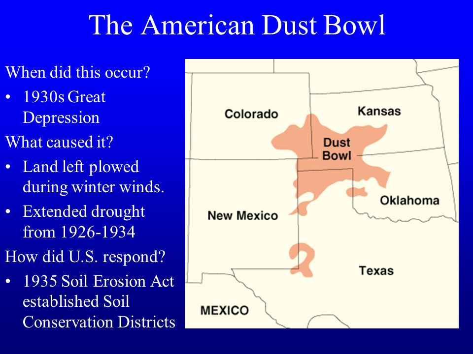 The problem of soil erosion during the dust bowl of 1930s