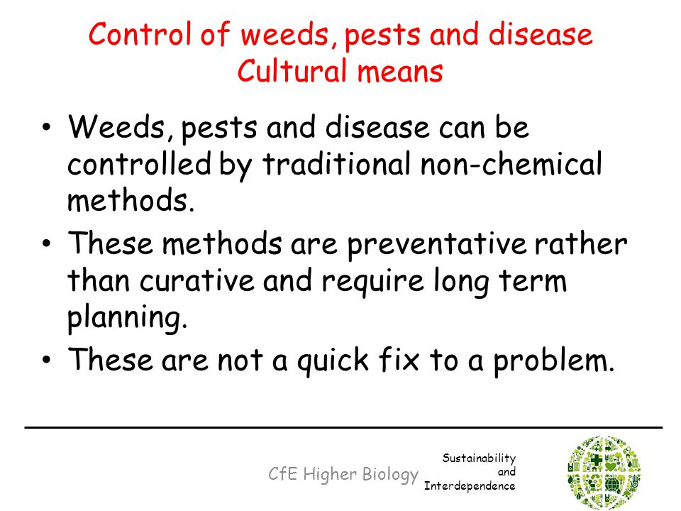 Control of weeds, pests and disease Cultural means