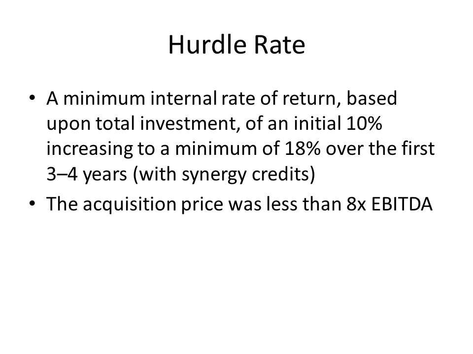 BREAKING DOWN 'Hurdle Rate'