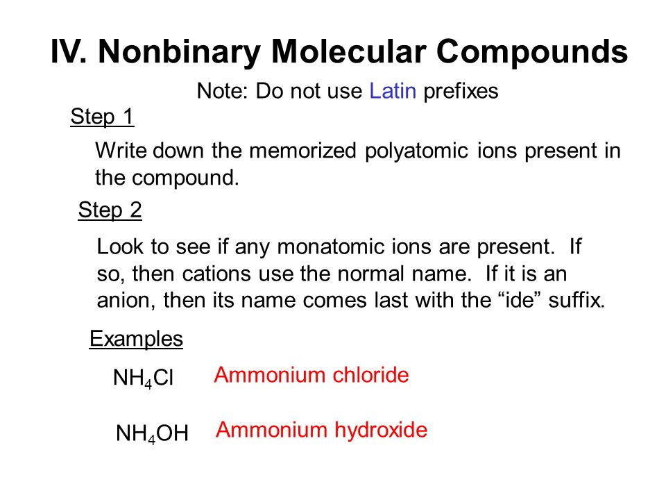IV. Nonbinary Molecular Compounds