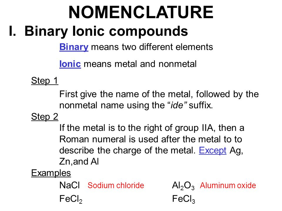NOMENCLATURE I. Binary Ionic compounds