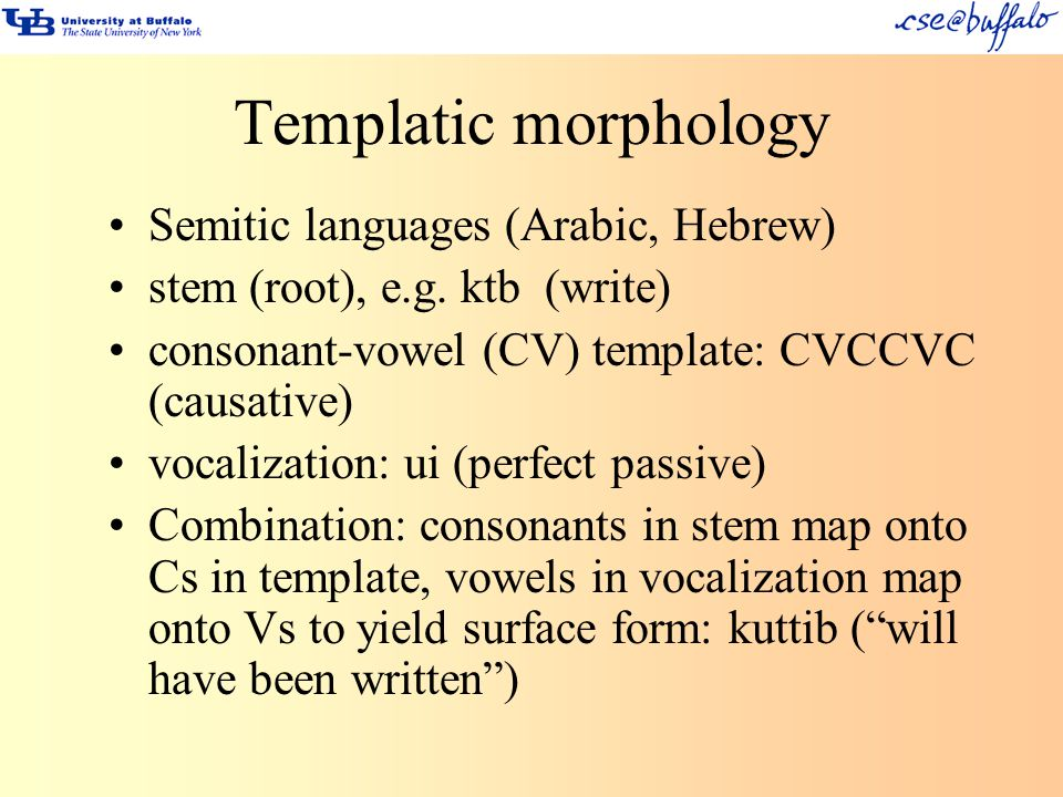 Templatic morphology Semitic languages (Arabic, Hebrew)