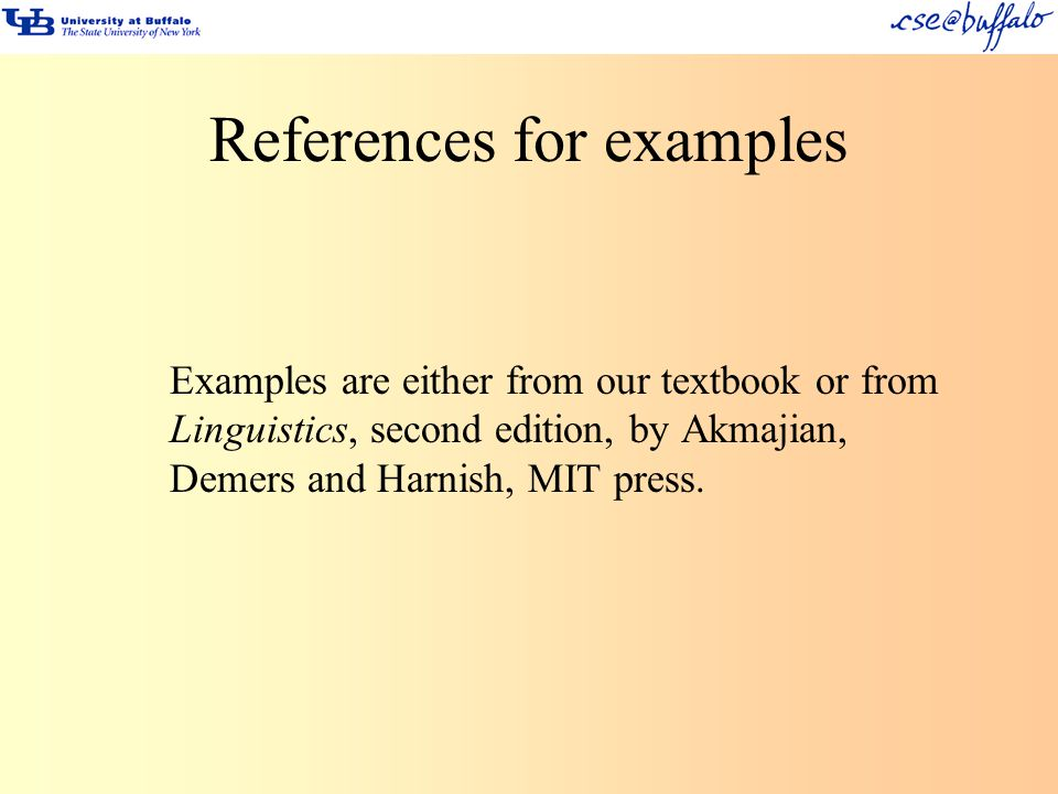 References for examples