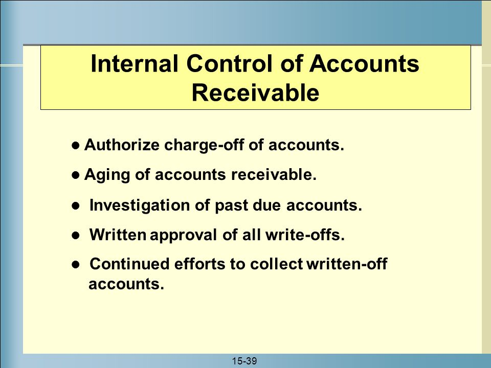 write off accounts receivable Accounts receivable are eligible for write-off once they have been outstanding for  two years to be considered for write-off, the university must be able to.