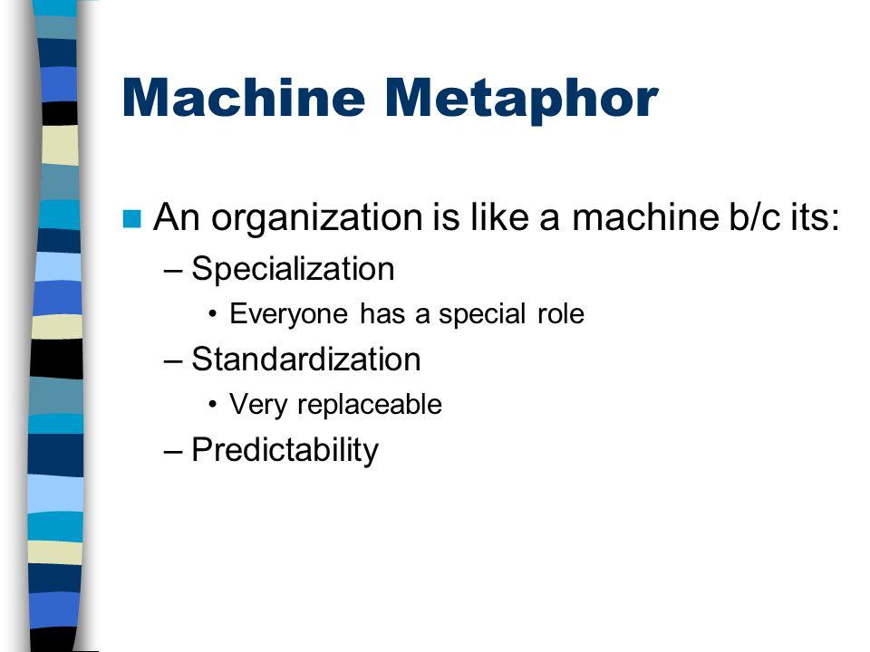 Machine Metaphor An organization is like a machine b/c its: