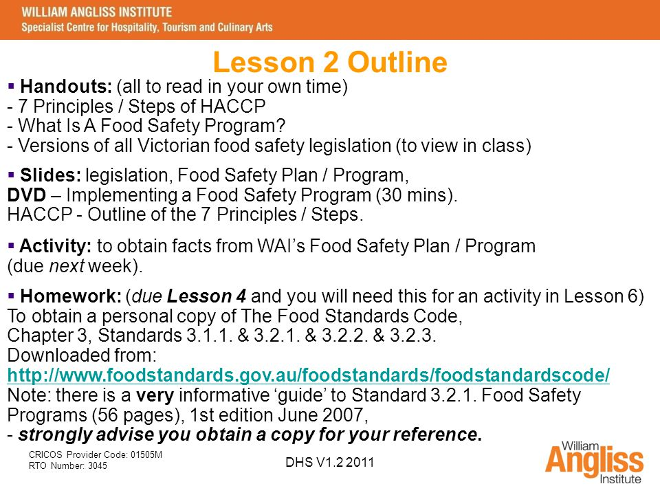 Implement Food Safety Procedures SITXFSA001A DHS V ppt download