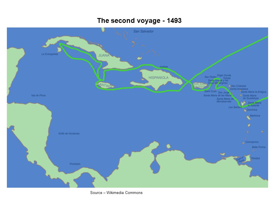 The second voyage - 1493 Source – Wikimedia Commons