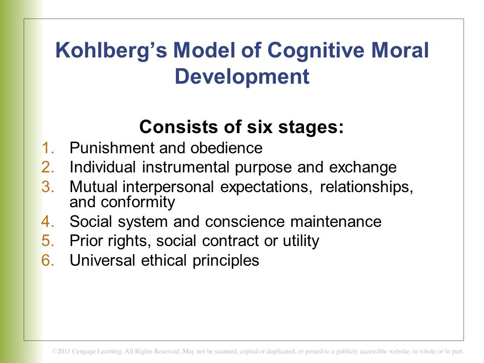 Kohlberg's Model of Cognitive Moral Development
