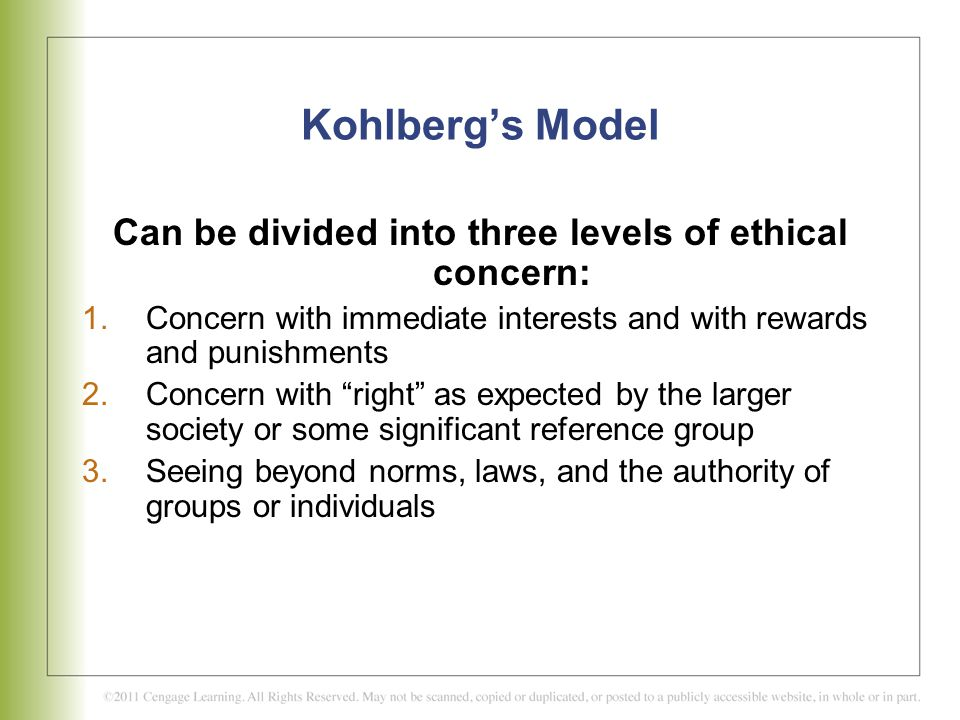 Can be divided into three levels of ethical concern: