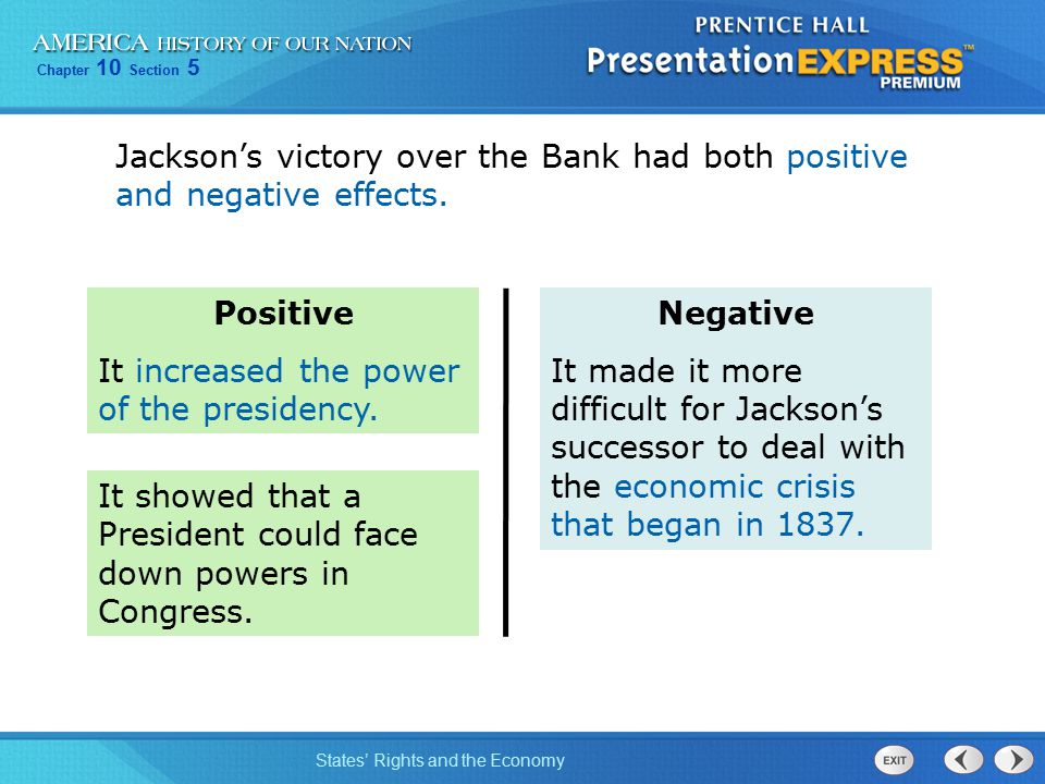 a discussion on the negative aspects of andrew jacksons presidency Andrew jackson martin van buren pro-slavery supporters rig the referendum so that slavery will not be eliminated from the territory even by a negative.