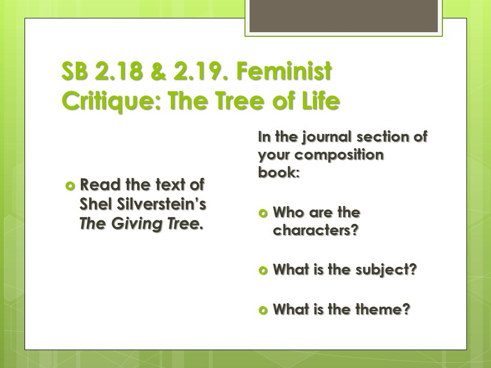 SB 2.18 & Feminist Critique: The Tree of Life