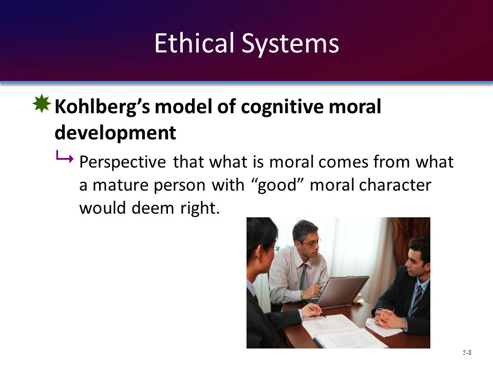 Ethical Systems Kohlberg's model of cognitive moral development