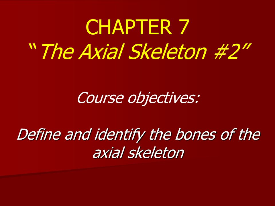 CHAPTER 7 The Axial Skeleton #2 Course objectives: Define and identify the bones of the axial skeleton