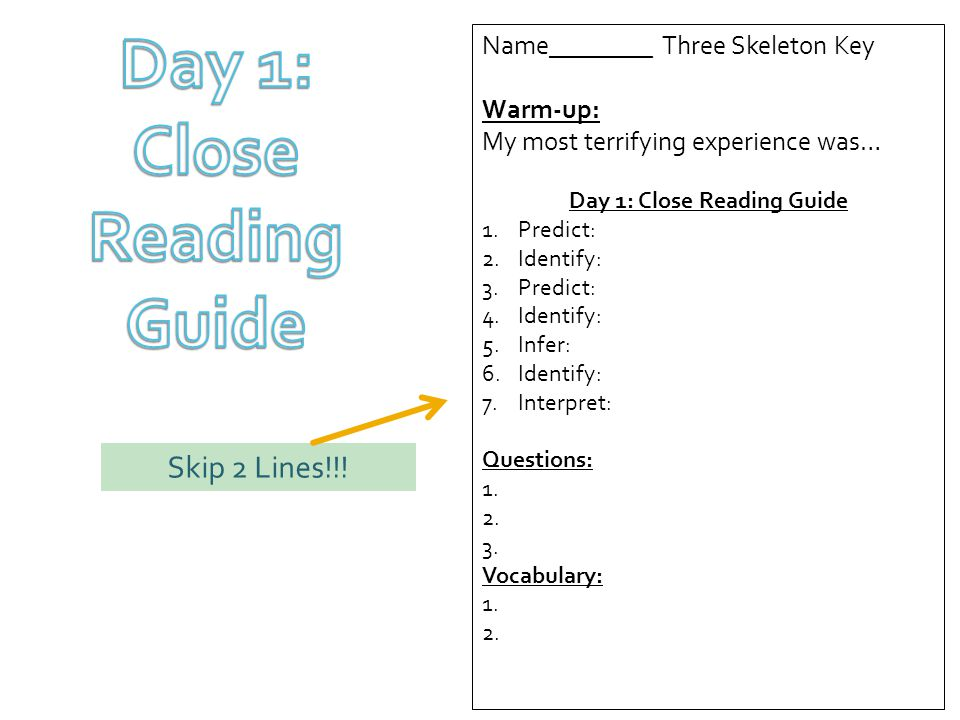Division 2 three skeleton key ppt video online download 4 day 1 close reading guide name three skeleton key ccuart Choice Image
