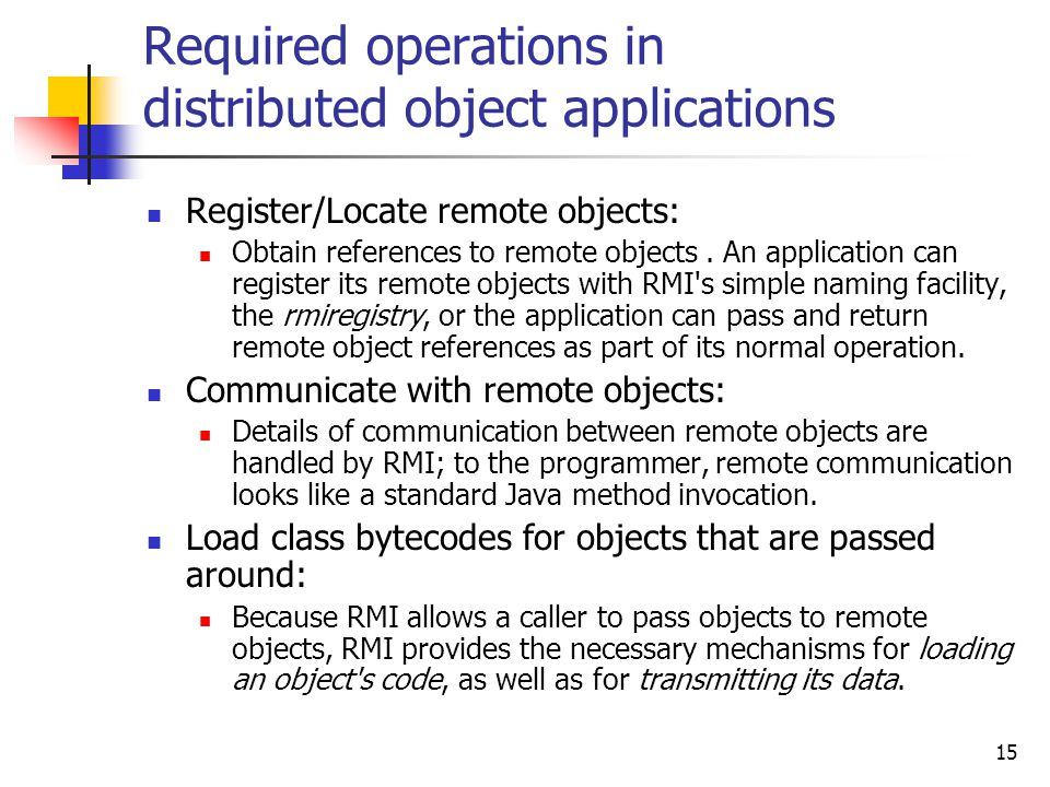 Required operations in distributed object applications