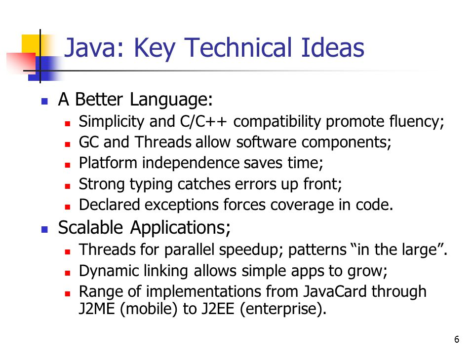 Java: Key Technical Ideas