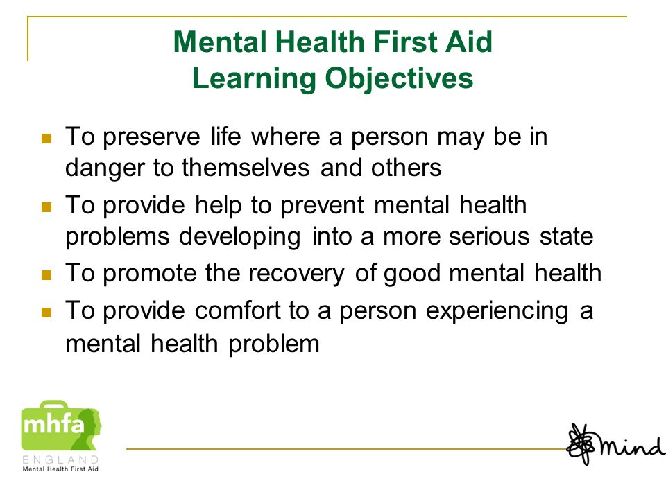 Mental Health First Aid Learning Objectives