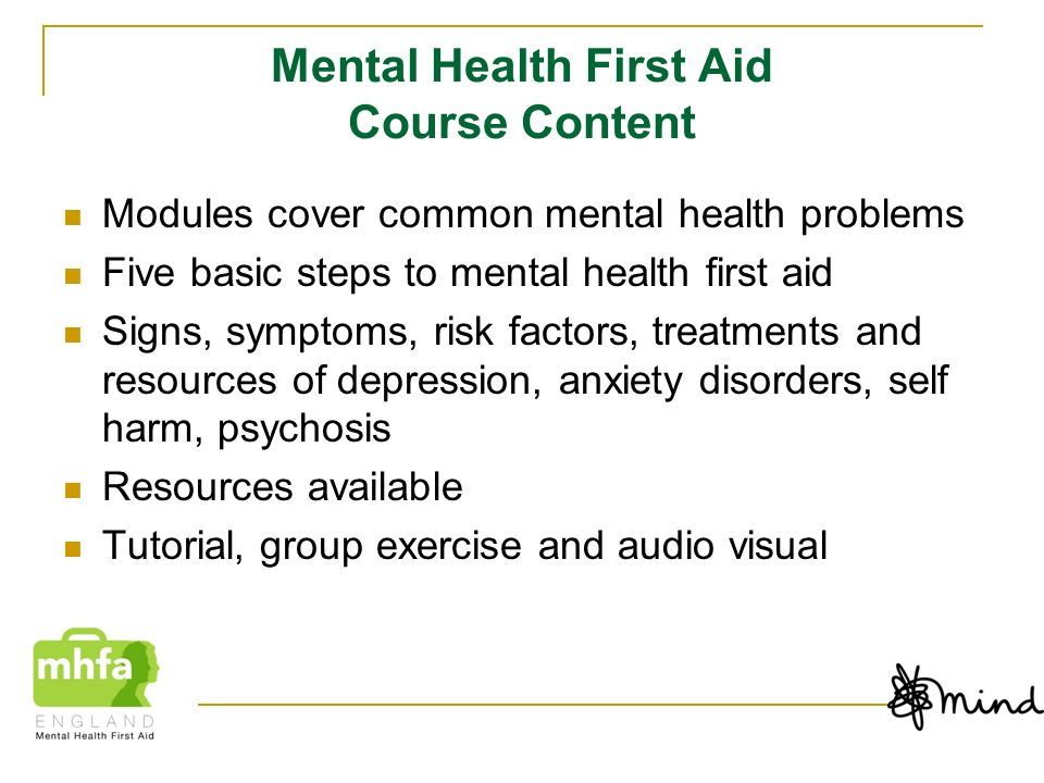 Mental Health First Aid Course Content