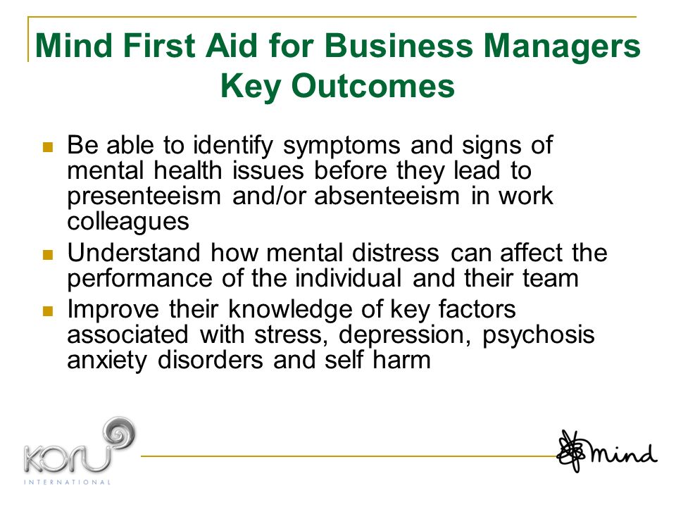 Mind First Aid for Business Managers Key Outcomes