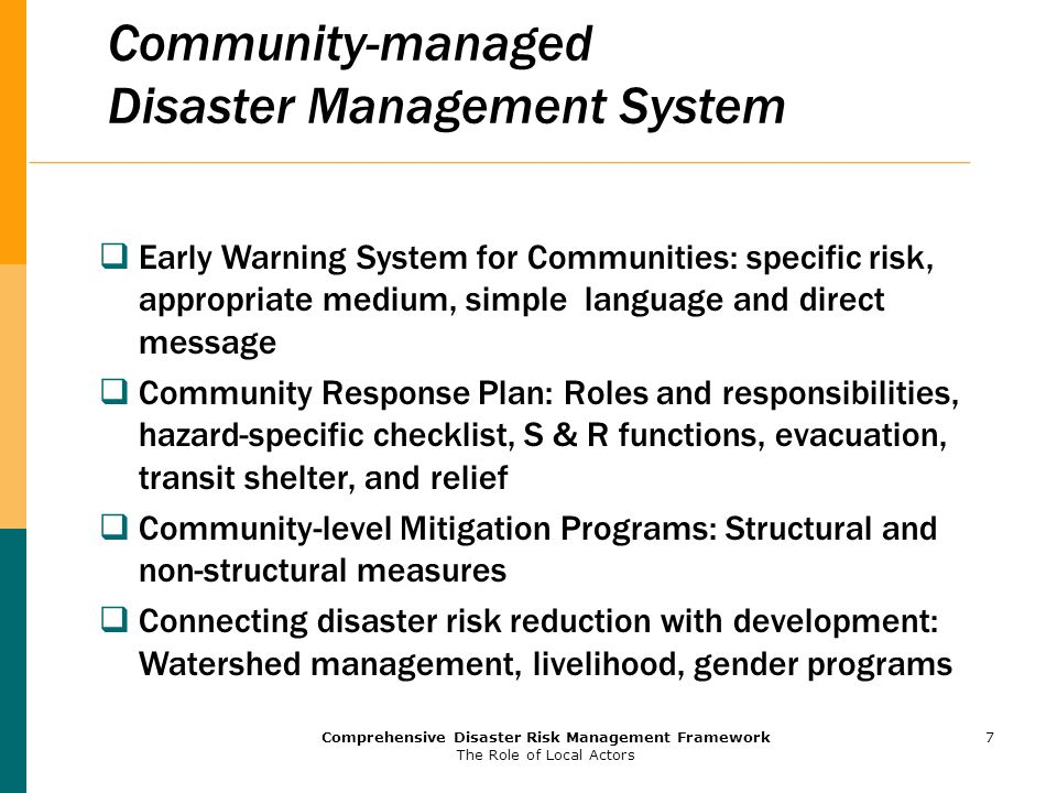 community based system for disaster management Community-based disaster management community-based disaster reduction should be the foundation of society initiate emergency management system.