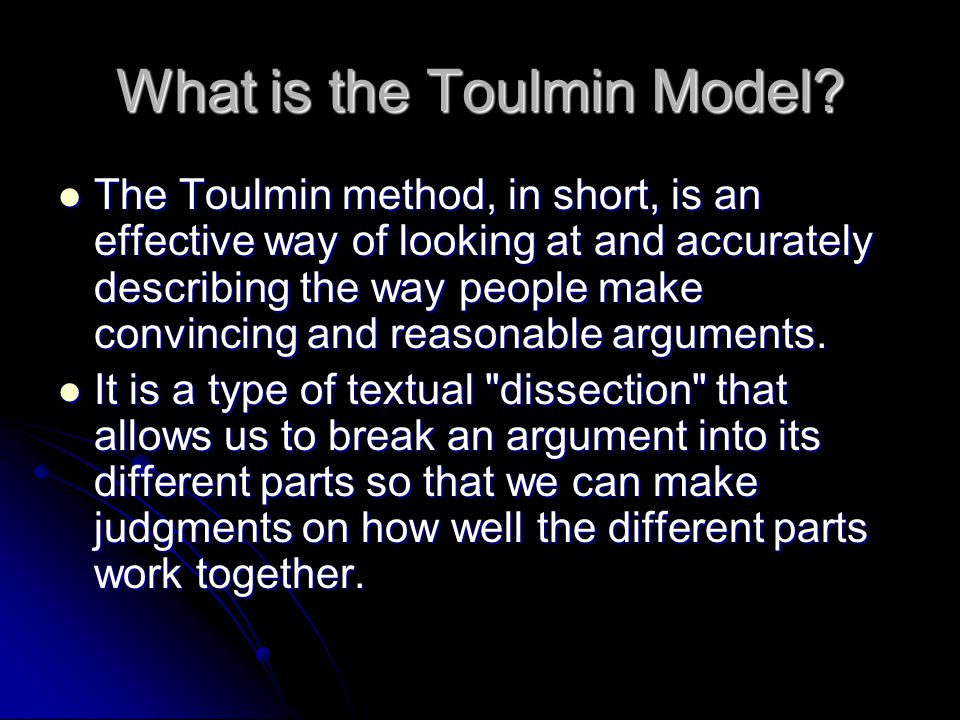 toulmin analysis of its the abc Influenced by ludwig wittgenstein, toulmin devoted his works to the analysis of moral reasoning stephen toulmin was born in london, uk.