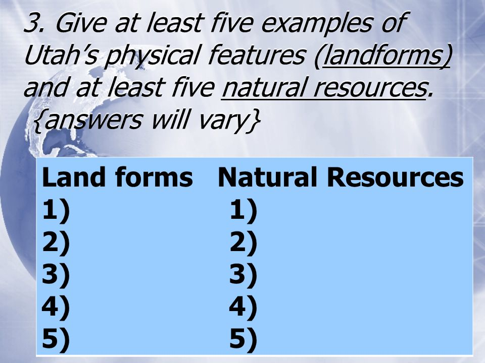 Give Five Examples Of Natural Resources