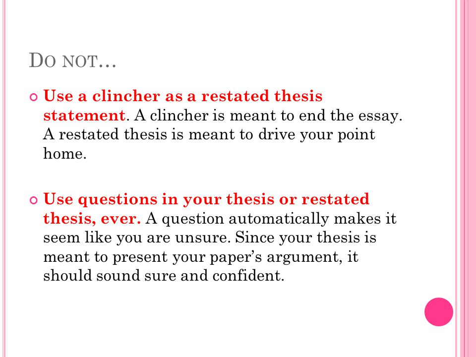 what is restate thesis mean What does argument mean in essay-writing terms the term argument can mean two things in essay a conclusion that does not simply restate the thesis.
