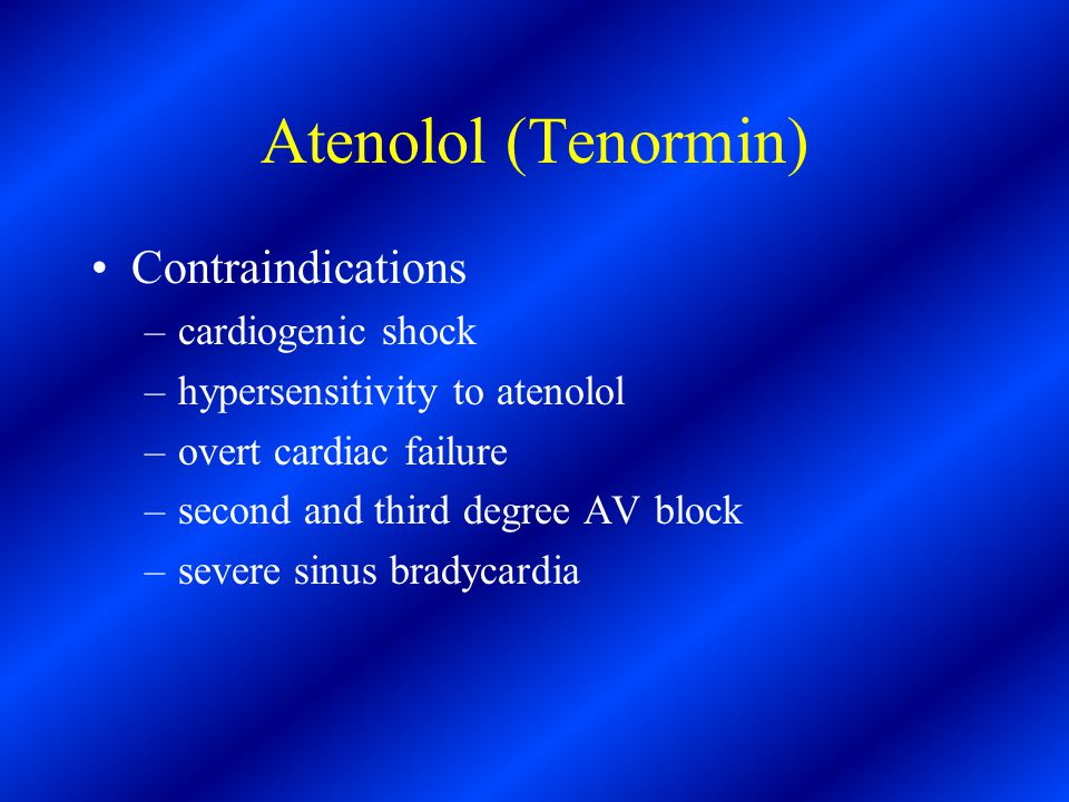 atenolol 50mg contraindications