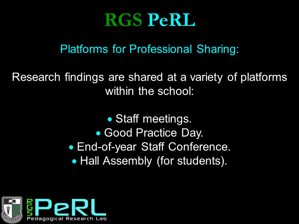 RGS PeRL Platforms for Professional Sharing: