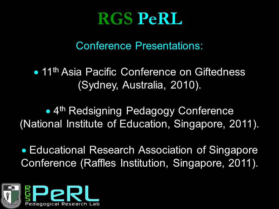 RGS PeRL Conference Presentations: