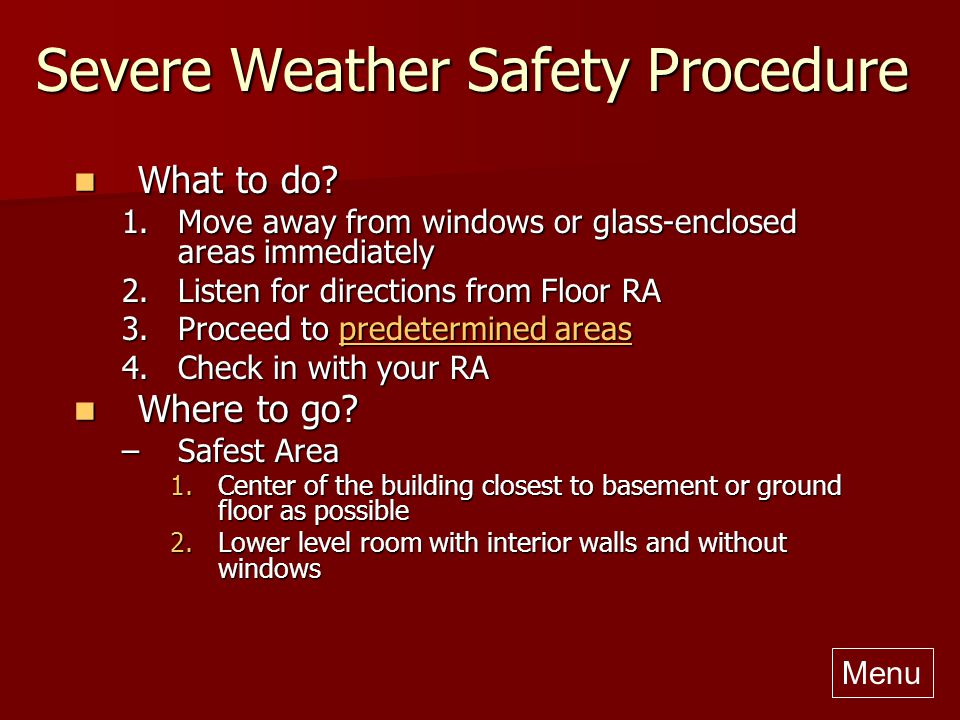 Severe Weather Safety : Residence hall emergency procedures ppt video online