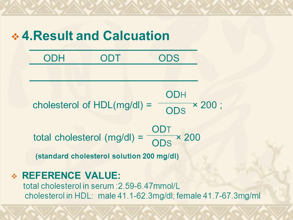 Laboratory reference values for total cholesterol