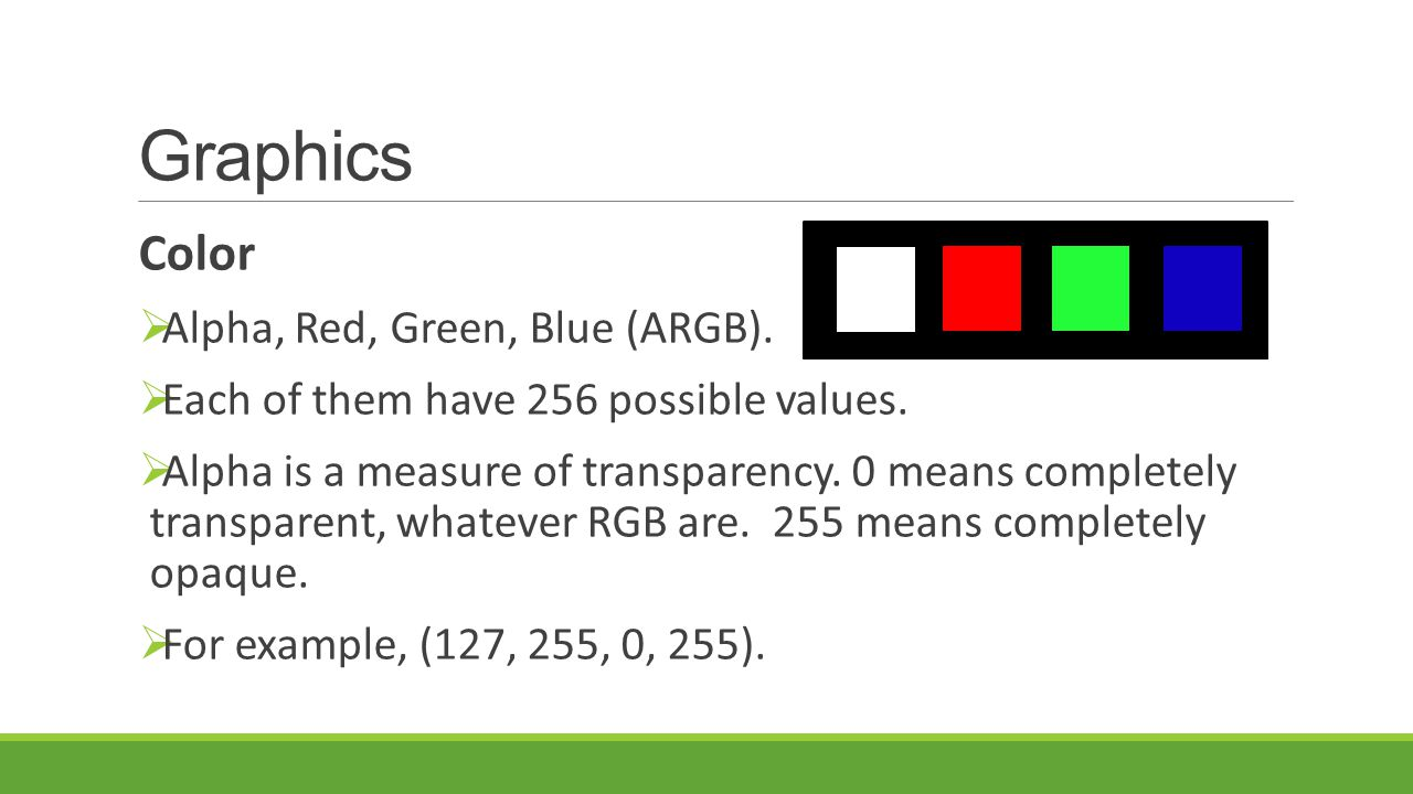Graphics Color Alpha, Red, Green, Blue (ARGB).