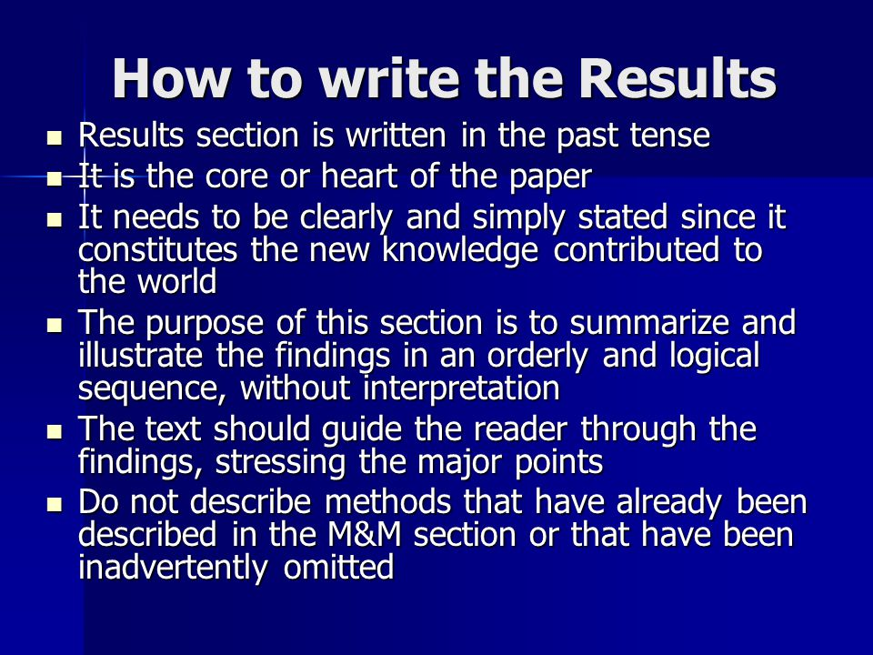 how to write scientific results section