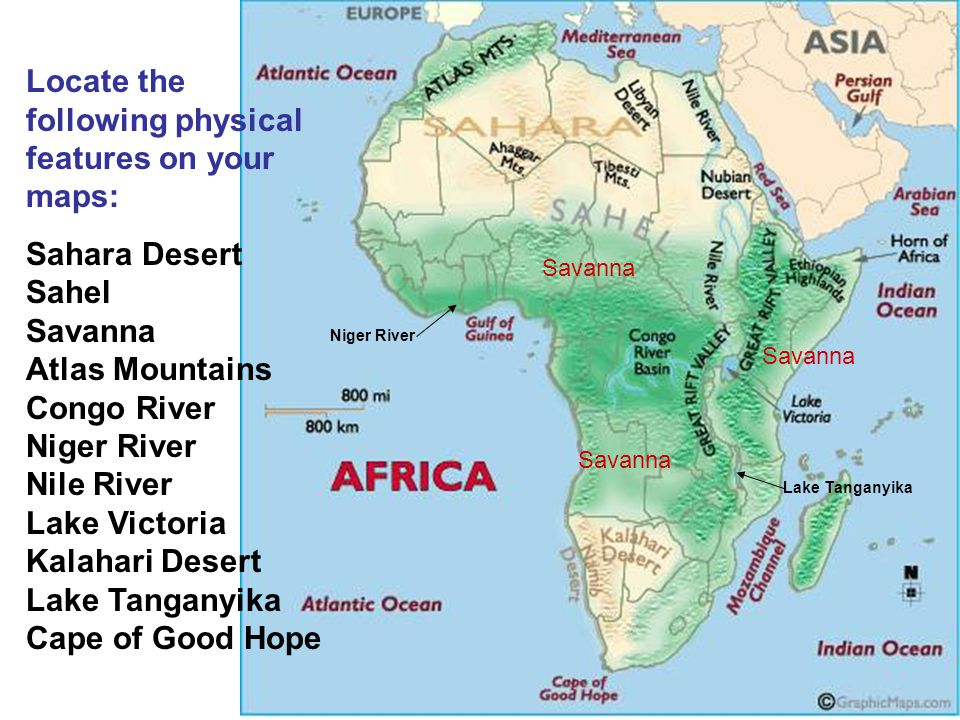 The Student will locate select features of Africa ppt video