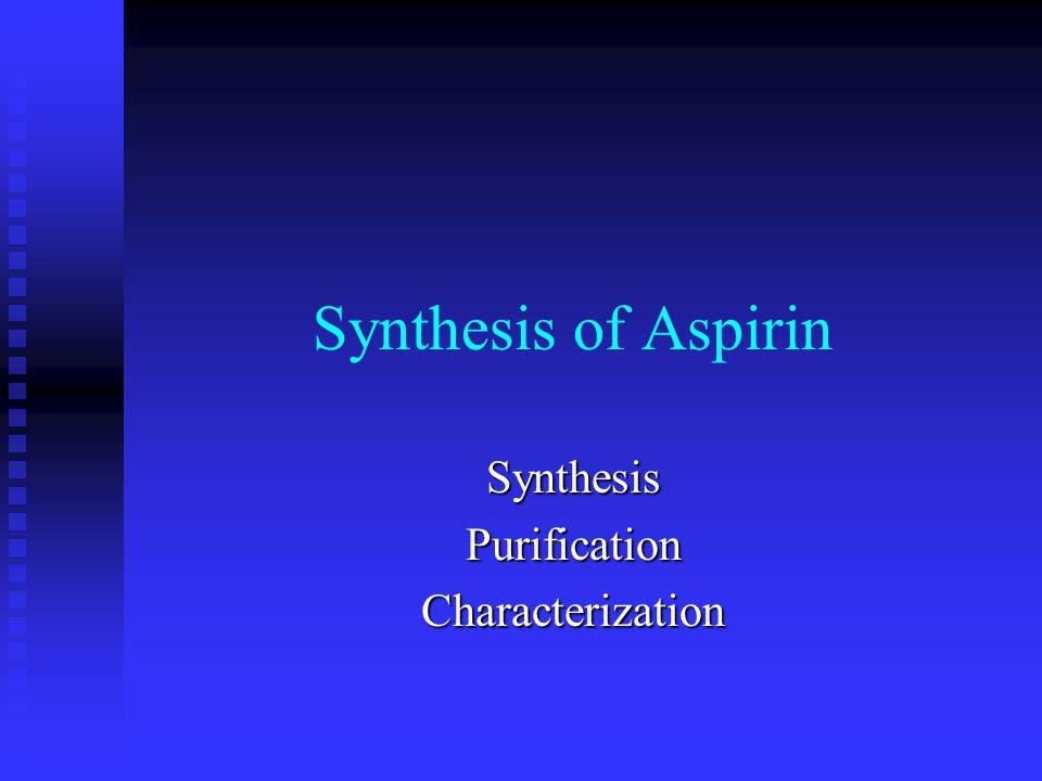 characterization of aspirin Aspirin synthesis and characterization author: layla nicks lab partners: ayman  sami, ronnie phelps, instructor: peilu liu chem 151, section 4h date work.