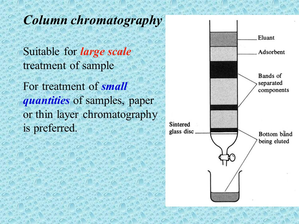 column and thin layer chromatography 2 essay [1, 2] column and thin layer chromatography are examples of the solid-liquid  method of chromatography, which utilizes an adsorbent solid stationary phase.
