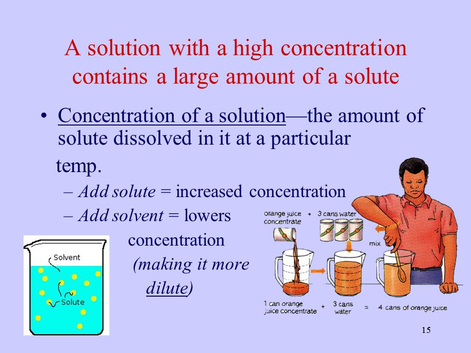 A solution with a high concentration contains a large amount of a solute