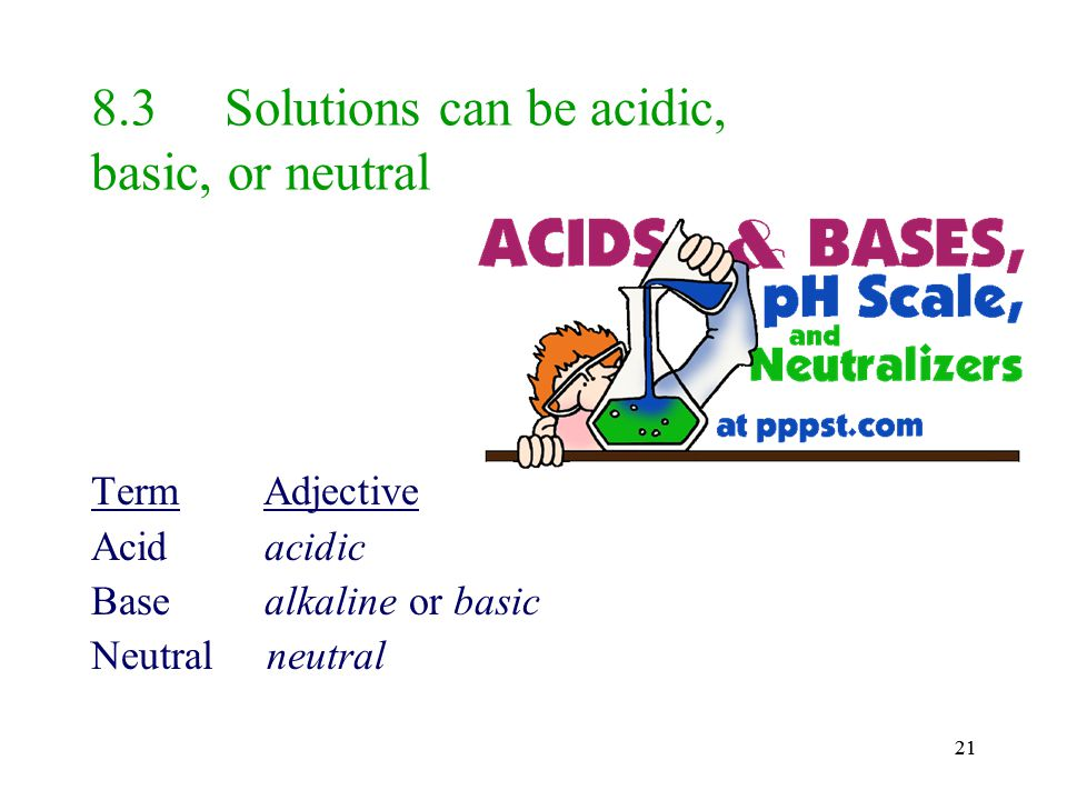 8.3 Solutions can be acidic, basic, or neutral