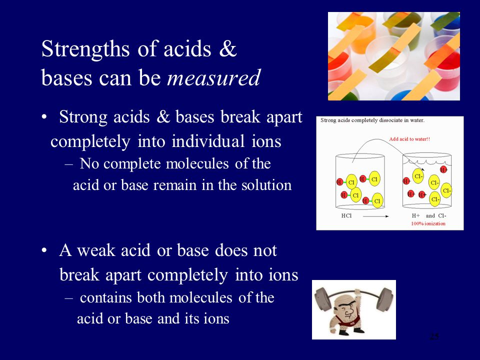 Strengths of acids & bases can be measured