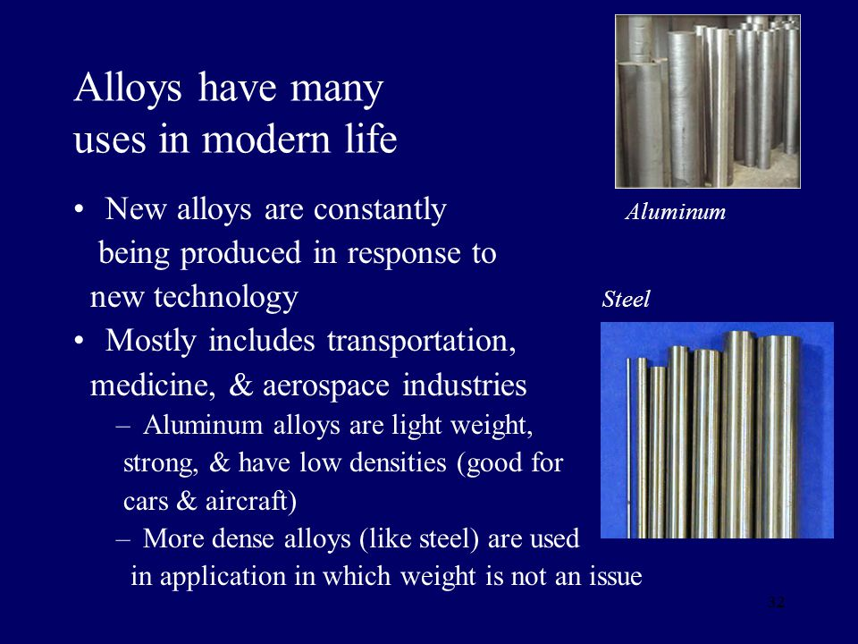 Alloys have many uses in modern life