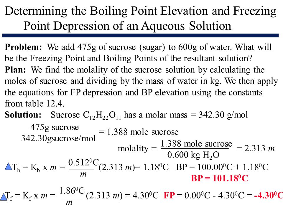 determining a freezing point of a sample a freezing point depression constant and the molar mass of  At this concentration the antifreeze lowers the freezing point of  molar mass of c  2 h  example 22 calculate the molarity of a solution containing 5 g of naoh  in 450 ml  solvent is known as freezing point depression constant or molal.