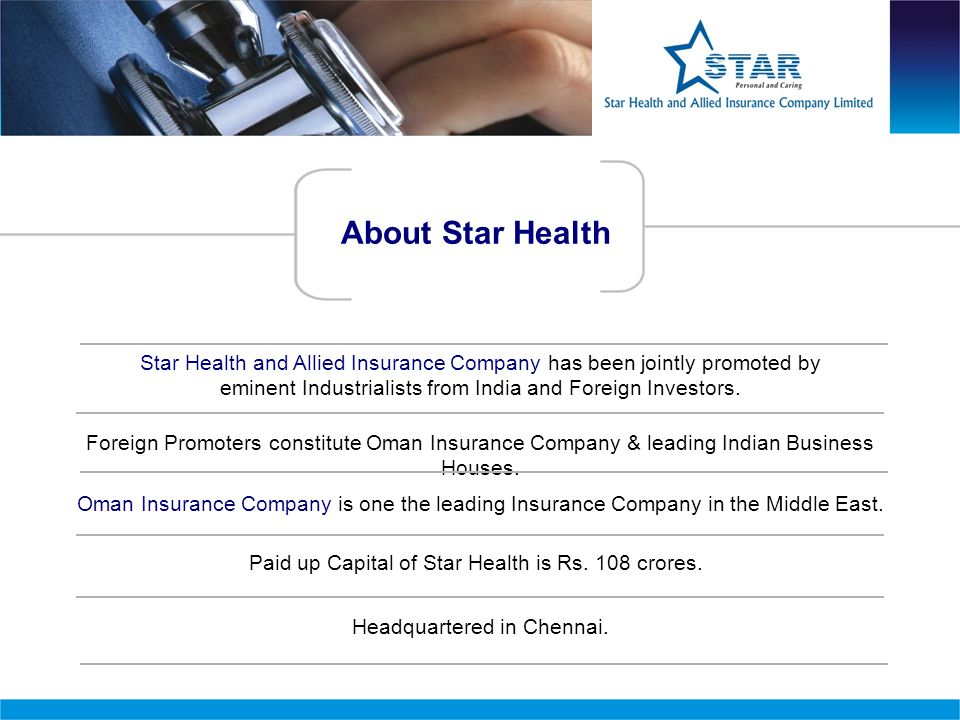 About Star Health Star Health and Allied Insurance Company has been jointly promoted by eminent Industrialists from India and Foreign Investors.